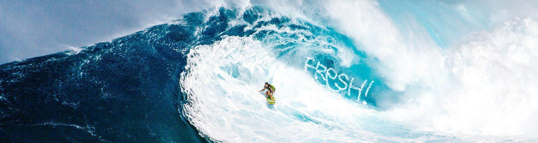 Slider foto surfer, website FRESH vormgeving, oss