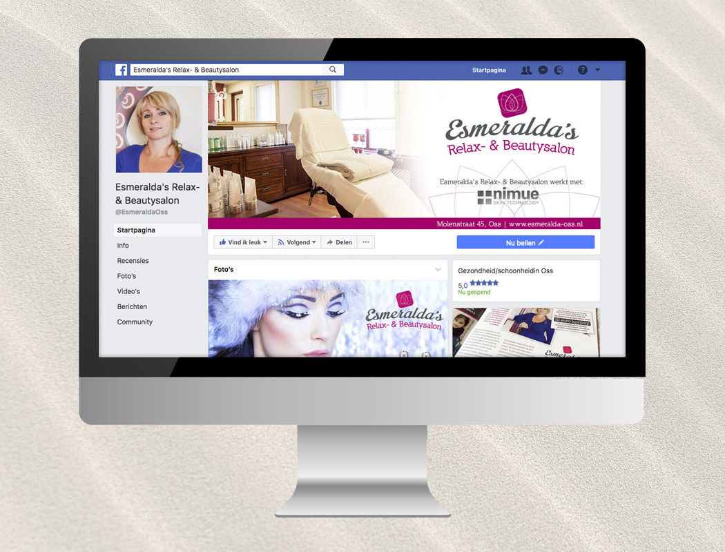 Zakelijke Facebook pagina Esmeralda's Relax- & Beautysalon