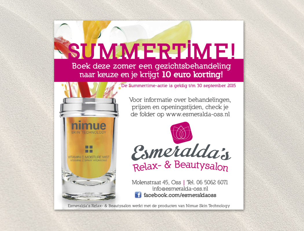 Magazine advertentie Esmeralda's Relax- & Beautysalon